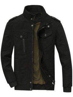 Zip Up Jacket Men Clothes - Black L