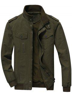 Zip Up Jacket Men Clothes - Army Green Xl