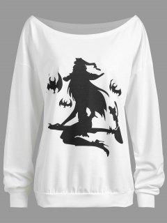 Plus Size Halloween Witch Bat Print Drop Shoulder Sweatshirt - White 3xl