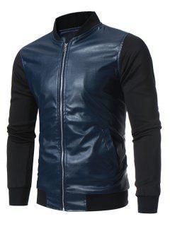 Stand Collar Panel Design PU Leather Zip Up Jacket - Deep Blue L