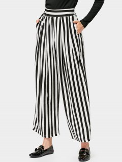 Elastic Waist Casual Stripes Wide Leg Pants - Stripe M