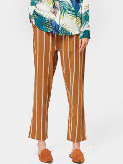 Elastic Waist Stripes Straight Pants - Yellow M
