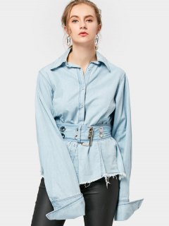 Frayed Belted Corset Shirt - Light Blue M