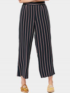 High Waisted Wide Leg Stripes Pants - Stripe L