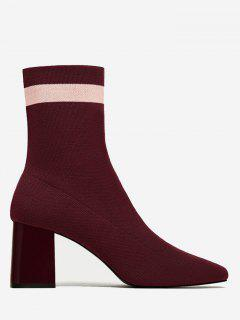Color Block Striped Pointed Toe Boots - Wine Red 35