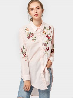 High Low Floral Embroidered Shirt - Pink M