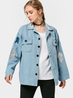 Embroidered Button Up Denim Jacket - Denim Blue M