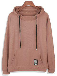 Drop Shoulder Graphic Print Pocket Pullover Hoodie - Dark Khaki L