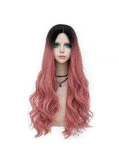 Long Middle Part Layered Wavy Synthetic Party Wig - Deep Pink