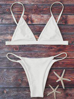 Cami Plunge String Bikini Set - White L
