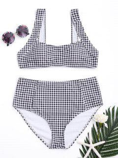 Square Neck Karo-Bikini Mit Hoher Taille - Weiß & Schwarz Xl