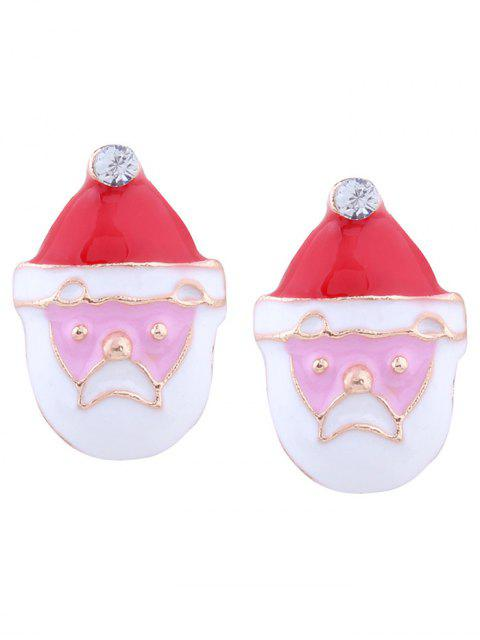 Rhinestone Tiny Christmas Santa Earrings - Rouge  Mobile
