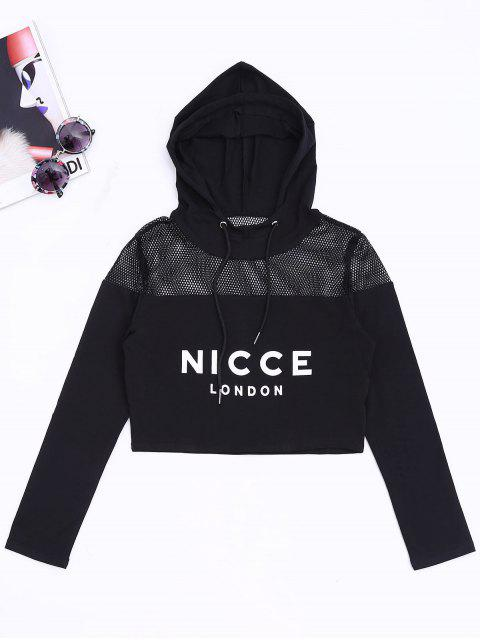 fancy Mesh Panel Nicce Graphic Cropped Hoodie - BLACK M Mobile