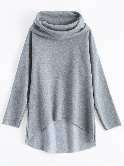 affordable High-Low Tunic Hoodie - GRAY L Mobile