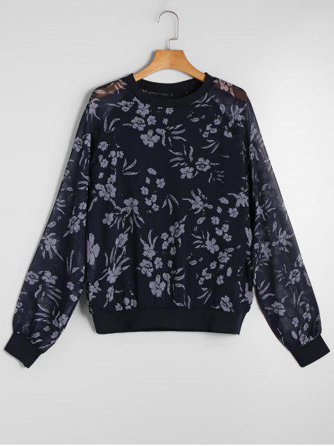 Vea a través de la gasa floral sudadera - Floral L Mobile