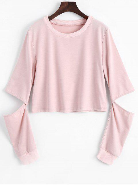 Sweat-shirt Simple à Manches Cut Out - ROSE PÂLE S Mobile