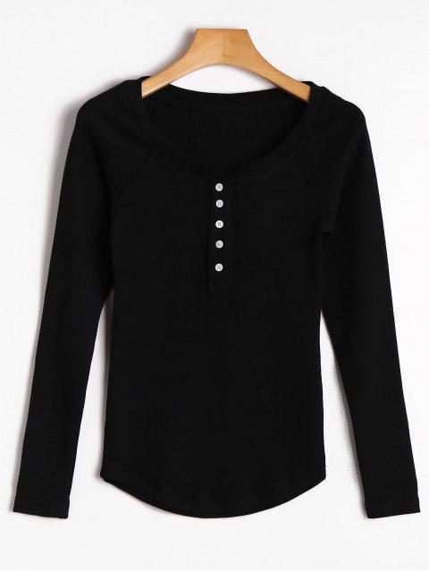 Top en tricot à moitié boutonné Raglan - Noir L Mobile