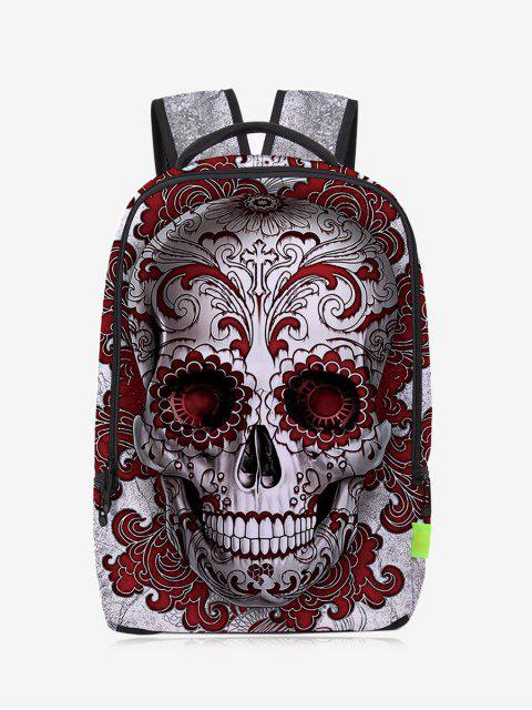 outfit Canvas Skull Zips Backpack - RED  Mobile