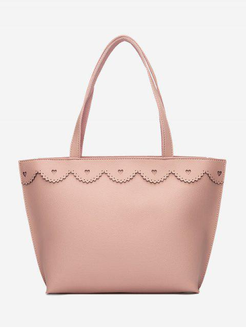shop Faux Leather Heart Pattern Shoulder Bag - PINK  Mobile