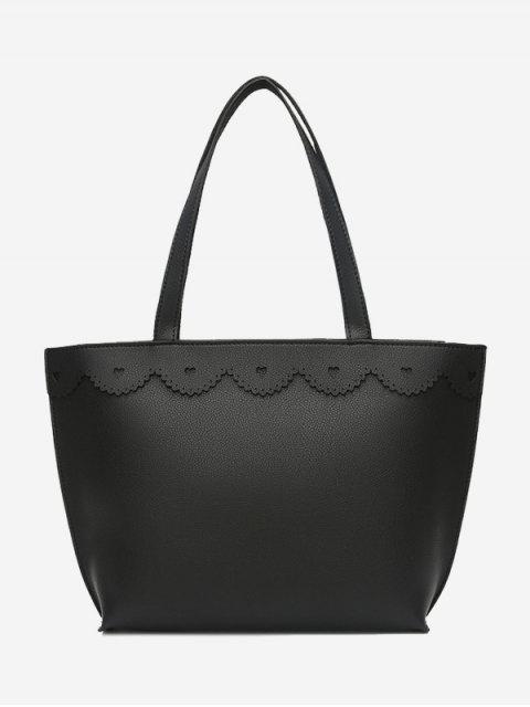 shops Faux Leather Heart Pattern Shoulder Bag - BLACK  Mobile