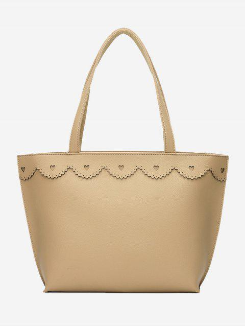 latest Faux Leather Heart Pattern Shoulder Bag - BEIGE  Mobile