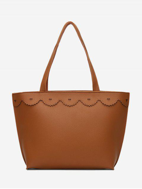 fashion Faux Leather Heart Pattern Shoulder Bag - BROWN  Mobile