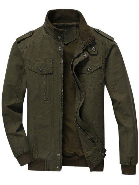 Hommes Zip Up Jacket - Vert Armée 3XL Mobile