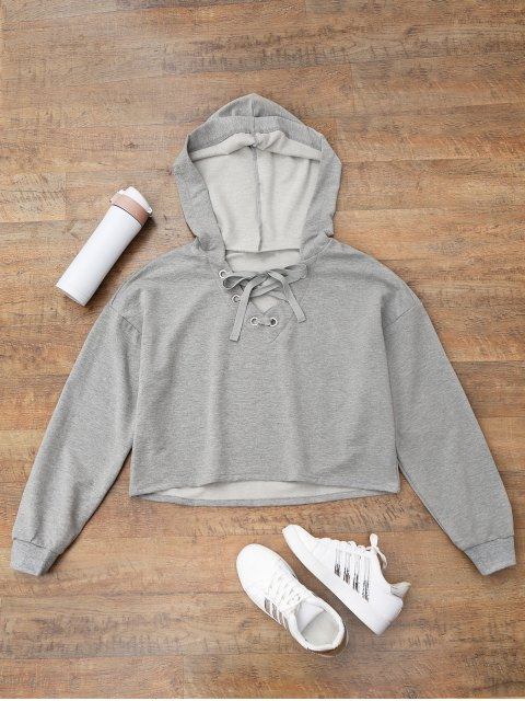 shop Lace Up Plain Cropped Hoodie - GRAY L Mobile
