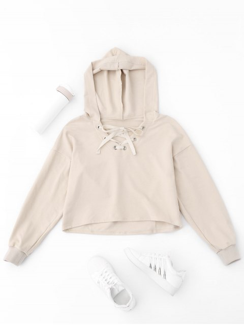 chic Lace Up Plain Cropped Hoodie - APRICOT S Mobile
