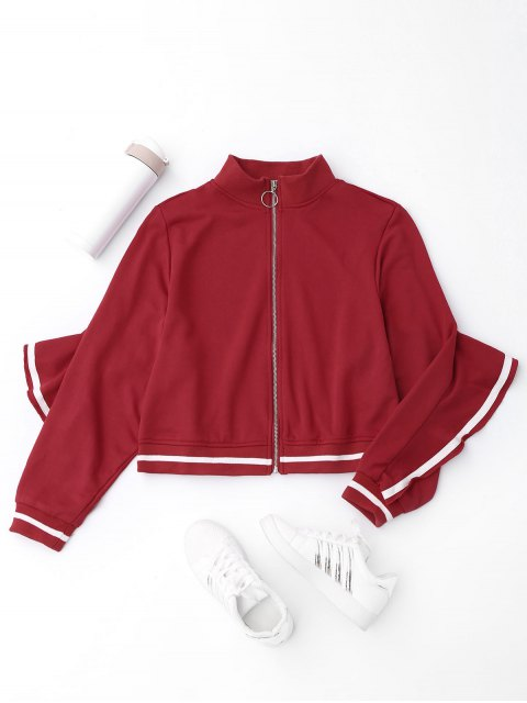 women's Ruffles Zip Up Jacket - RED L Mobile