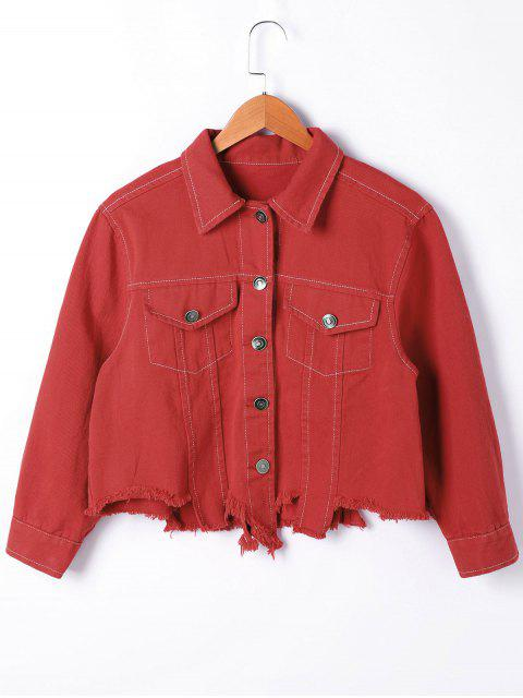 womens Ripped Long Sleeve Jacket - RED S Mobile