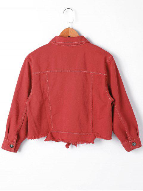 lady Ripped Long Sleeve Jacket - RED M Mobile