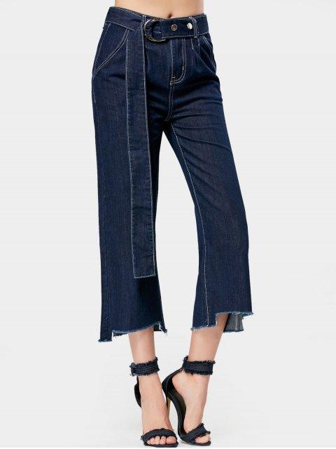 women Belted High Low Hem Wide Leg Jeans - DENIM BLUE L Mobile