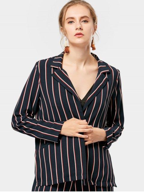 fashion Open Front Striped Blazer - STRIPE S Mobile