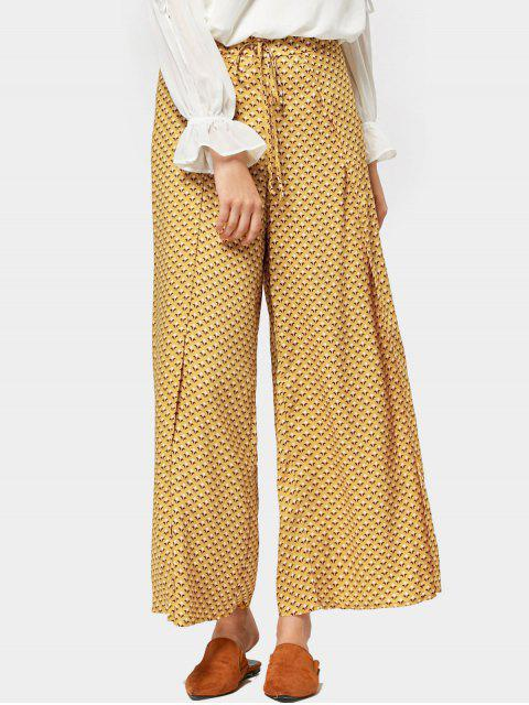 affordable High Slit Geometric Wide Leg Pants - YELLOW M Mobile