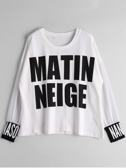 fashion Chiffon Panel Matin Neige Graphic Top - WHITE L Mobile