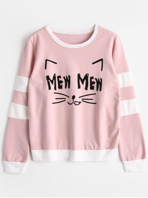 women Cat Graphic Striped Sweatshirt - PINK ONE SIZE Mobile
