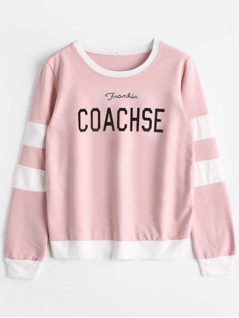 best Striped Letter Graphic Sweatshirt - PINK ONE SIZE Mobile