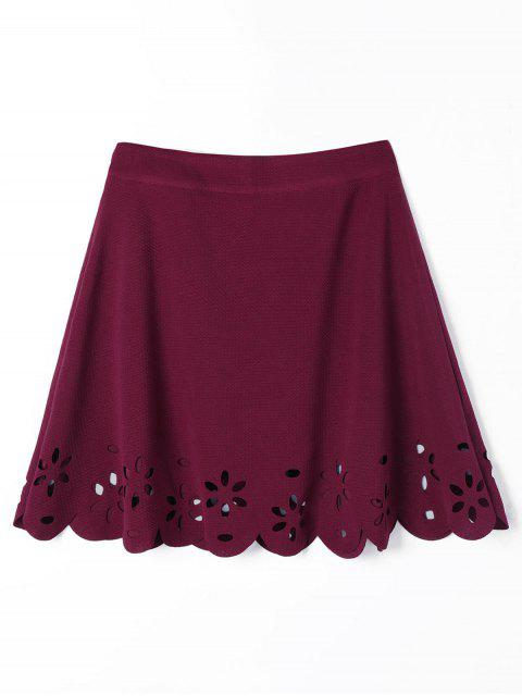 best Scalloped Hollow Out A Line Skirt - WINE RED 2XL Mobile