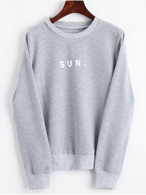 affordable Crew Neck Letter Graphic Sweatshirt - GRAY S Mobile