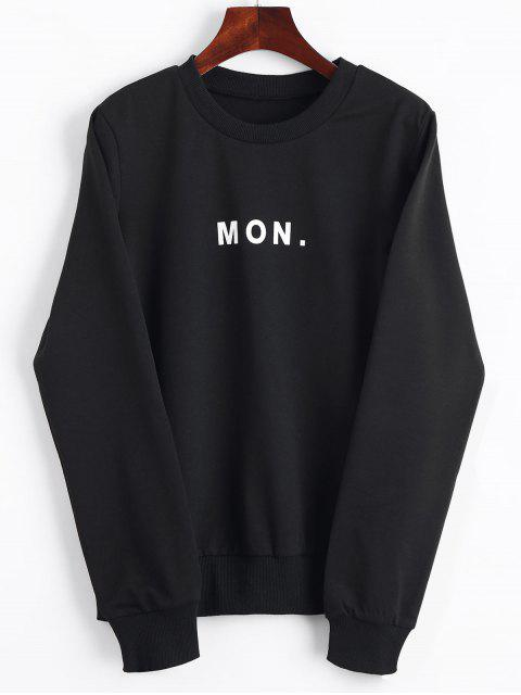 sale Crew Neck Letter Graphic Sweatshirt - BLACK S Mobile