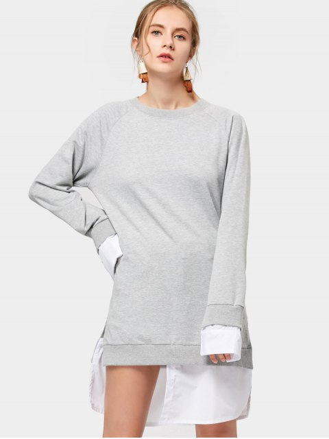 latest Contrasting Long Sleeve Asymmetrical Dress - GRAY M Mobile