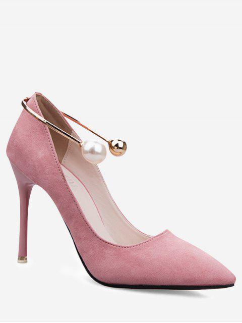 fancy Ankle Strap Faux Pearl Stiletto Pumps - PINK 35 Mobile