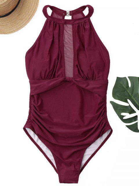 best Mesh Panel High Neck One Piece Swimsuit - WINE RED S Mobile