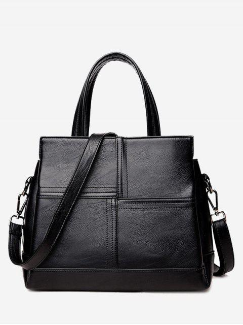 shops Cross Stitching Faux Leather Tote Bag - BLACK  Mobile