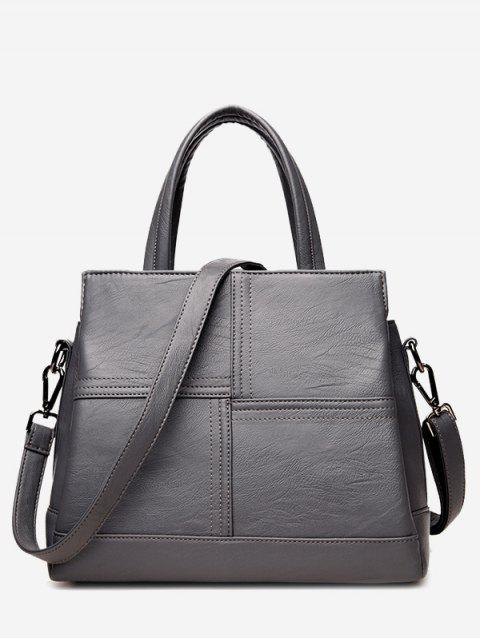 trendy Cross Stitching Faux Leather Tote Bag - GRAY  Mobile