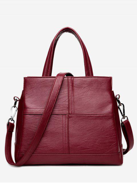 chic Cross Stitching Faux Leather Tote Bag - WINE RED  Mobile
