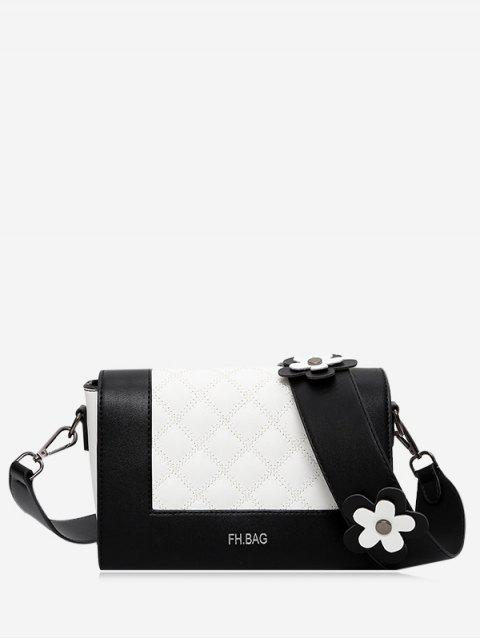 shops Flower Quilted Color Block Crossbody Bag - BLACK  Mobile
