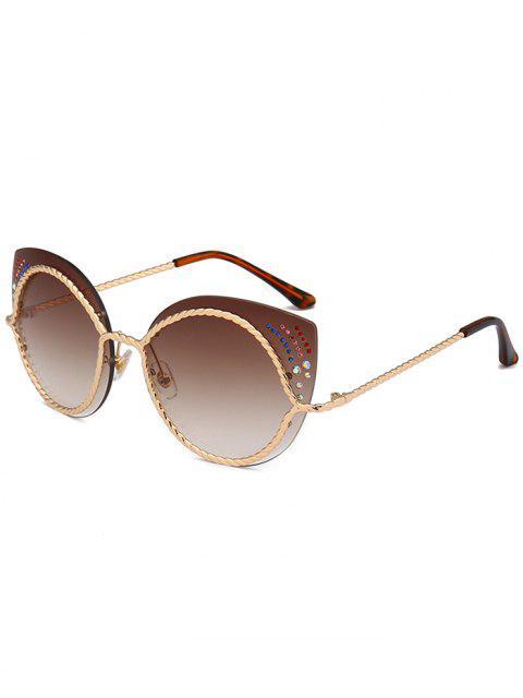 Strass Linsen Katzenauge Sonnenbrille - Dunkelbraun  Mobile