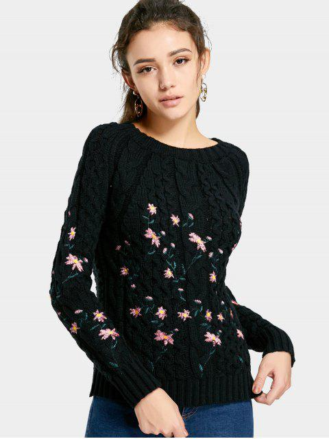 best Cable Knitted  Pullover Embroidered Sweater - BLACK ONE SIZE Mobile